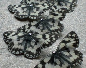 Hand Cut silk butterfly hair clip - Marbled Whites