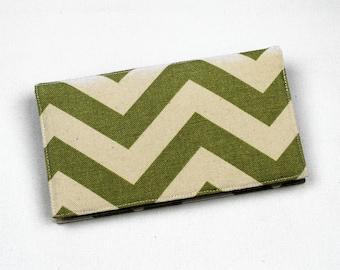 Chevron Fabric Checkbook Cover, Duplicate Checks, Pen Holder, Green, Blue, Red, Navy, Gold