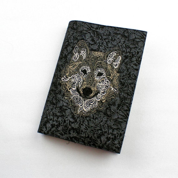 Embroidered Wolf Paperback Book Cover, Trade Size, Gift for Guy