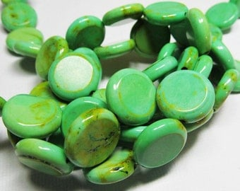 LOOSE Gemstone Beads - Magnesite Beads - 16mm Coins - Mint, Lime, & Chartreuse Green (4 beads) - gem865