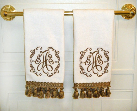 monogrammed tassel hand towels set of two - Decorative Hand Towels