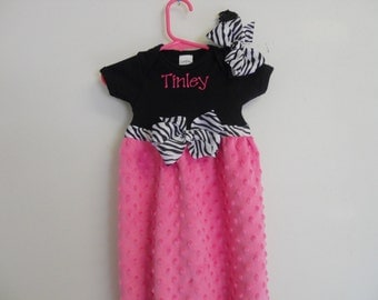 Boutique Hot Pink and Zebra Minky Chenille Infant Girls Layette Gown Set Soo Pretty great for coming home outfit