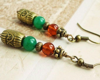 Genuine Baltic Amber & Green Aventurine Earrings, Antiqued Brass, Boho Gypsy, Exotic, Handcrafted
