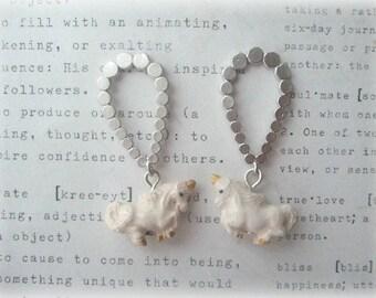 Silver Teardrop Earrings with Ceramic Unicorn