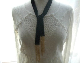 Black Velvet Scarf with Gold Chain Ends