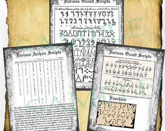 Digital Book of Shadows 4 Pages - Various Occult Magickal Scripts - Ceremonial Witchcraft Alphabets Symbols Writing