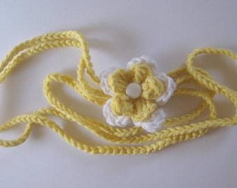 Crochet Flower Headband  Sunshine Yellow  Photo Prop