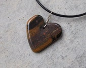 Heart jewelry - Tiger Iron heart pendant necklace -  Hematite, Jasper & a tiny bit of Red Tiger Eye