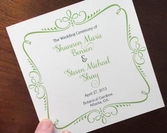 "Wedding Programs 5"" x 5"" Square, Ornate Design - 4 Page, Fancy Script Square Wedding Program"