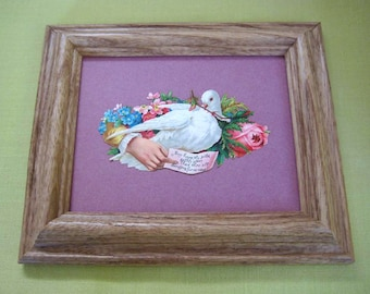 Romantic Victorian White Dove Die Cut  Antique Victorian Calling Card Framed