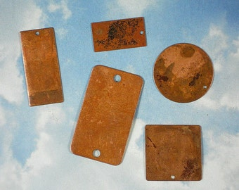 5 Copper Stamping Blanks Assortment Vintaj - Emboss, Etch, Form  (V115)