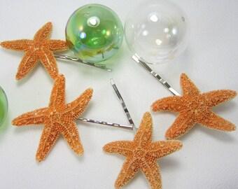 Starfish Barrettes, Beach Wedding Hair Accessories, Starfish Barettes, Nautical Wedding Starfish Hairpins - Starfish Bobby Pin 4pc- #SSFHAIR