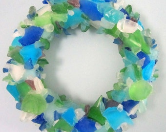 Sea Glass Art Beach House Decor Wreath, Nautical Wall Decor Sea Glass Wreath, Beach Glass Wreath, Seaglass Wreath, Glass Art  - #SGW100
