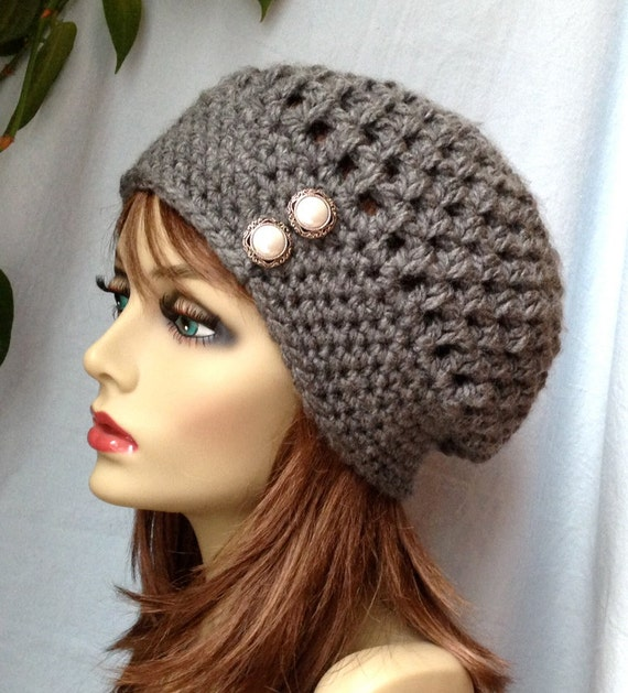 Crochet Womens Hat, Slouchy Beret, Charcoal Gray or Pick Your Color ...