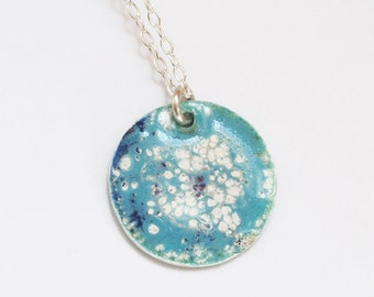 circle turquoise white dot enameled necklace in sterling silver