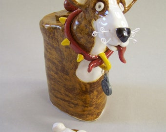 ON SALE - Brown and White Great Dane Flower Vase - Item U1083 - Custom Pieces Available Upon Request