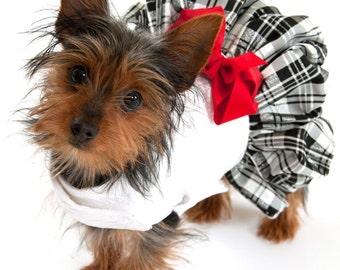 Dog Dress with Plaid Taffeta Skirt