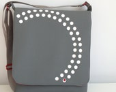 Messenger/Laptop Bag in Gray with Red Accent -- Free US Shipping