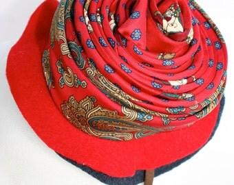 Red Fascinator Hat silk tie creation