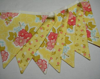 Free USA Shipping/Yellow Floral Fabric Banner/Fabric Banner/Fabric Flag/Photo Prop Banner/Birthday Pennant/Birthday Banner/Pennant