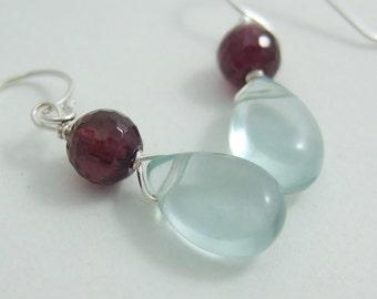 Earrings with Pale Blue Quartz Teardrops and Garnet HE-231