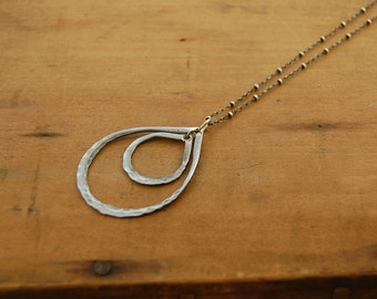 Steel drops - Hand forged steel necklace - Double - Medium