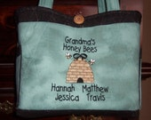 Grandma's Honey Bees Tote Bag Personalized Embroidered