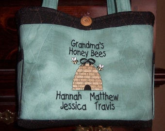 Grandma Tote Bag Personalized Quilted and Embroidered with Grandma's Honey Bees Design