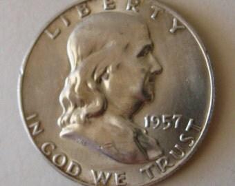 Coin Silver Half Dollar Benjamin Franklin 1957 D BU