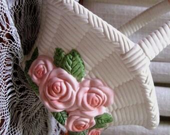 Vintage Basket Planter Floral Ceramic Woven Pink Roses