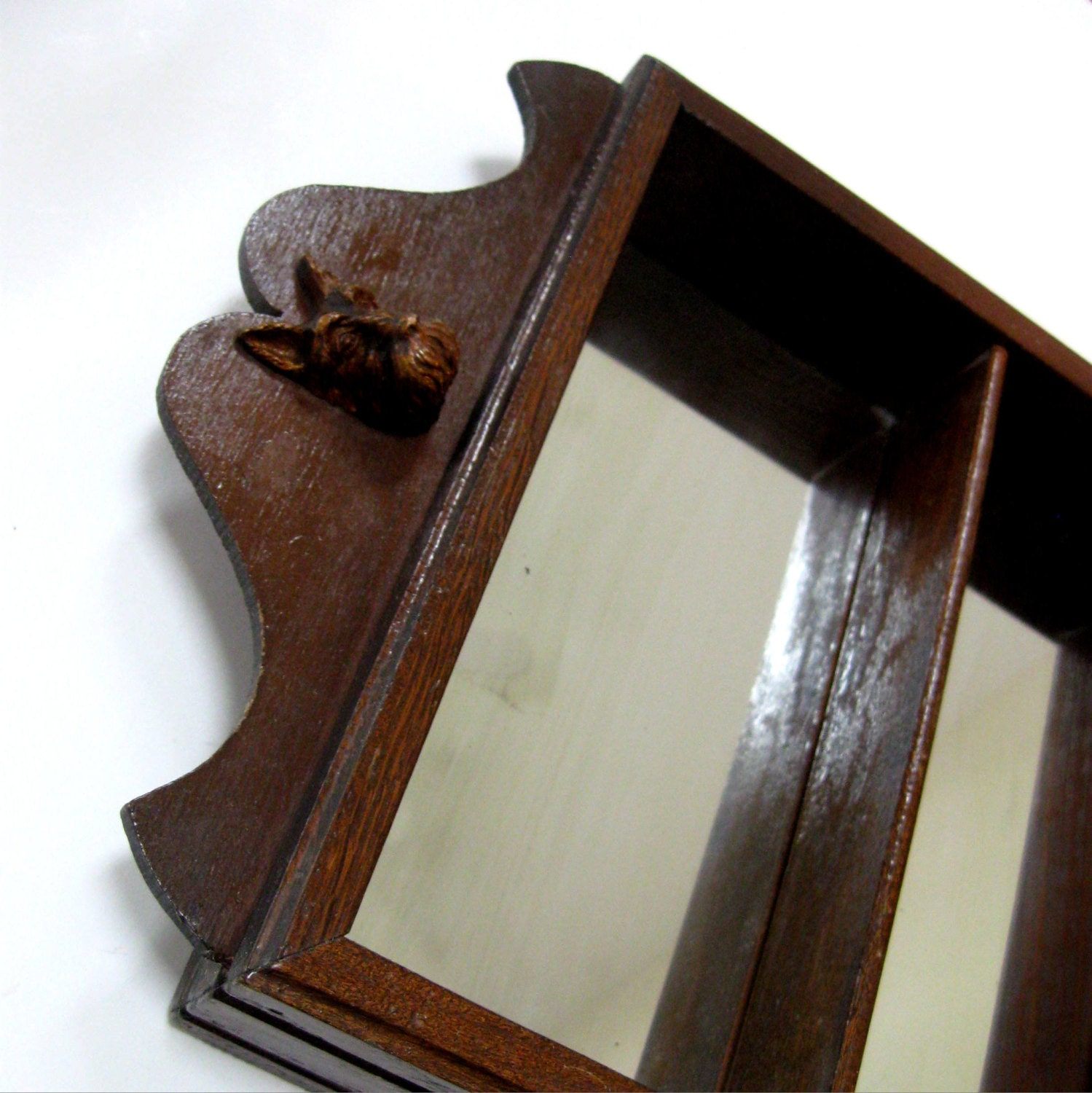 Vintage mirrored shelf oak wooden shadow box scottie dog for Mirrored box shelves