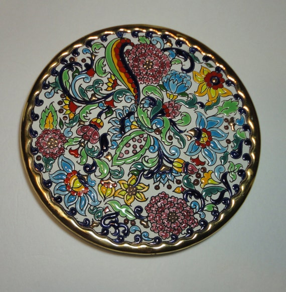 vintage hand painted decorative plate artecer spain
