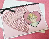 Handmade Valentine Card With Houndstooth Heart