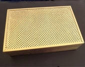 Vintage Jewelry Box Whiting and Davis Gold Tone Metallic Metal Collectible Womens Accessories