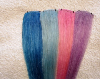 8 Inches long, PASTEL Human Hair Clip In Extensions,   Choose Color(s) Lilac,  Pink, Blue, Turquoise etc.