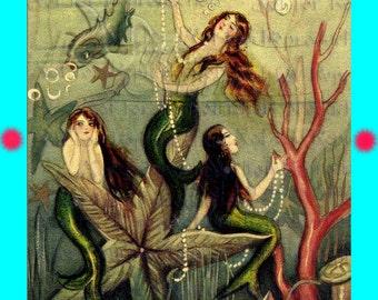 s181 Art Nouveau Mermaids Quilt Fabric Mermaid Panel.