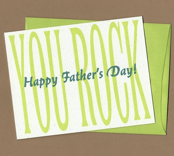 Father's Day Card - You Rock (typography) -- card for Dad, card for friend