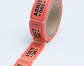 Washi Tape - 15mm - Coral and Pink Admit One Admission Ticket - Deco Paper Tape No. 736