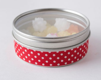Fabric Deco Tape Red with Large White Polka Dots - Scrapbook Embellish Decorate - Colorful and Fun - Single Roll No. F74