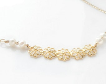 Delicate Gold Necklace  Flowers bar Pearls simple minimal everyday necklace bridal bridesmaid necklace