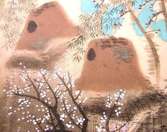 Vintage Japanese Painting Farm Houses in Spring Yokoyama Taikan Nihonga Style  Showa Period