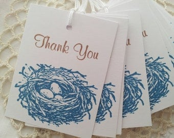Baby Shower Birds Nest Tags Set of 15
