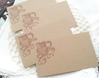 Owl Place Cards Food Buffet Label Tags Set of 10