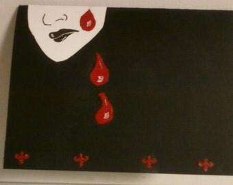 Gothic Dark Blood tears card