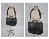 vintage leather MESSENGER BAG tote laptop carry all carry on briefcase