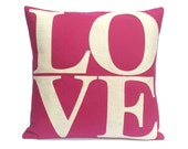 Appliqued Eco-Felt Love Throw Pillow Cover Antique White on Fuschia - 18 inches