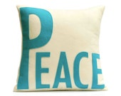 Peace Appliqued Eco-Felt Pillow Cover Peacock and Antique White - 18 inches