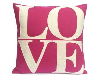 LOVE Throw Pillow Cover Appliquéd in  Antique White on Fucshia Eco-Felt - 18 inches