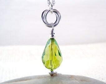 Peridot Pendant, Peridot Crystal Teardrop Necklace, Crystal Pendant, August Birthstone, Birthstone Jewelry, Green Necklace, Gift Under 30