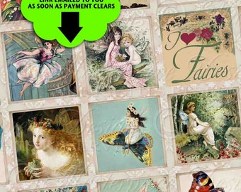 Fairies, Fairies Everywhere - Printables INSTANT DOWNLOAD 1x1 Inch Square Tiles Digital JPG Collage Sheet